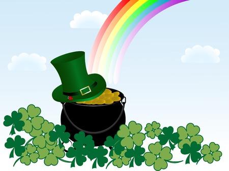 St.Patrick's cauldron with golden money Stock Vector - 8838737