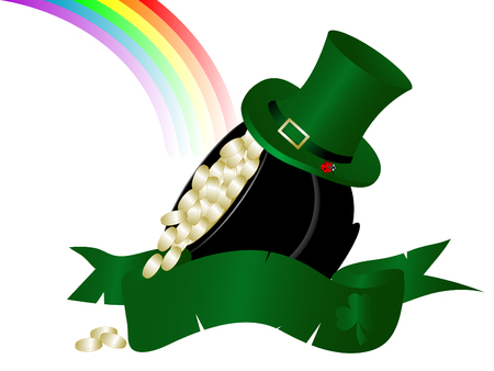 St.Patricks cauldron with golden money Vector