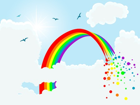Multi colored magic rainbow and clouds Vector