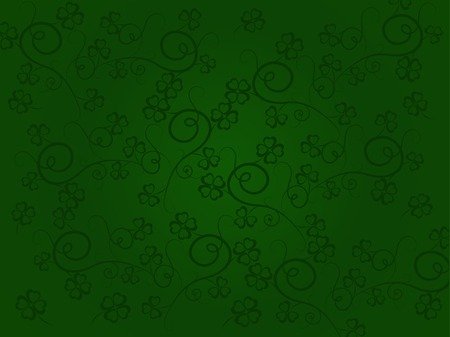 Green seamless pattern with clovers Vector