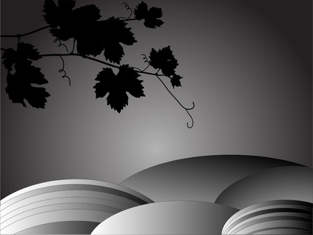 Landscape with vine leaves in black and white Vector