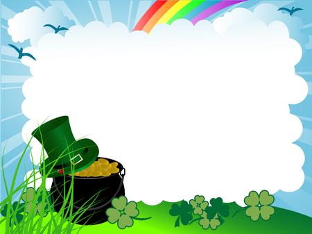 St.Patricks cauldron with golden money Vector