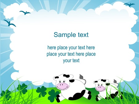 Cartoon frame with cows and clover Vector