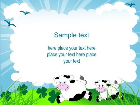cartoon frame: Telaio di cartone animato con mucche e trifoglio