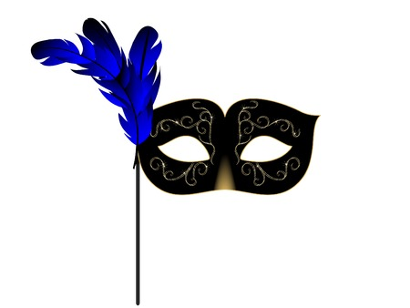 fantasia: Carnival facemask on white background