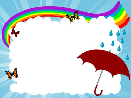Carton frame with rainbow and clouds Vector