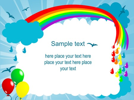 Carton frame with rainbow and clouds Stock Vector - 8977874