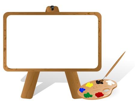 painter palette: Painter gen canvas and palette