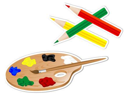 Palet en kleurpotloden kunstenaar Vector Illustratie