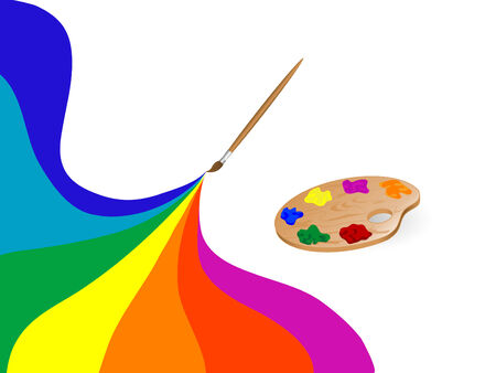 Artists palette and colour rainbow Vector