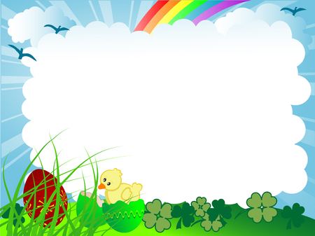 Pasen-achtergrond met eieren en kuiken