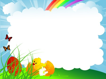Easter background with eggs and chick Stock Vector - 9037210