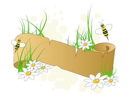 Spring banner with bees and flowers Vector