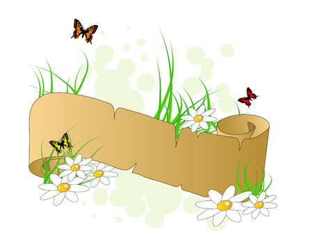 label frame: Spring banner with butterflies and flowers Illustration