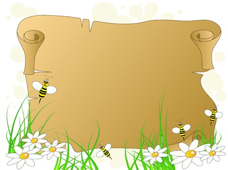 scroll border: Spring background with bees and flowers