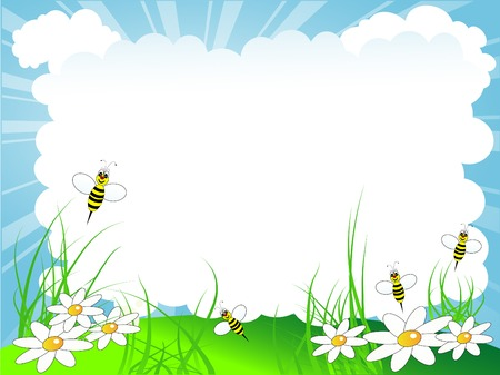animal border: Spring cloudy background with bees