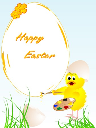 Easter artist chicken and painted egg Vector