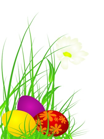 eastertide: Colored Easter eggs in grass