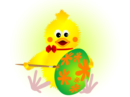 Easter chick with painted egg Vector