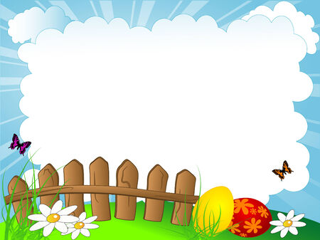 Easter cloudy background with the wooden fence Stock Vector - 9104089