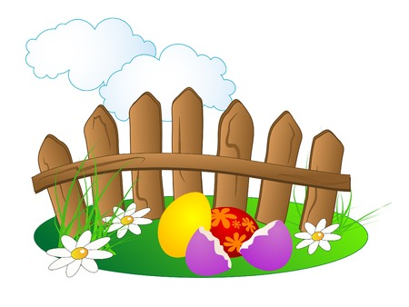 Easter background with coloured eggs Vector
