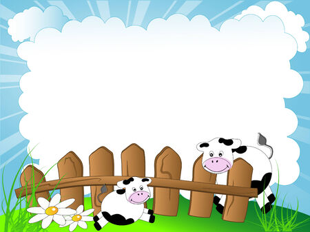 Spring cloudy background with cows Vector