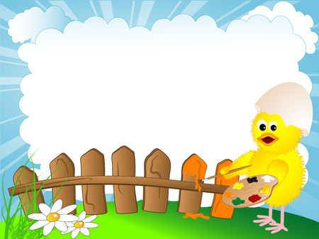 wooden frame: Chick is painting the wooden fence