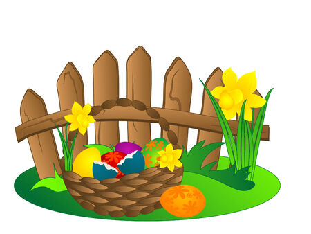 Easter basket with flowers and eggs Vector