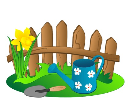 Background with fence and watering can Vector