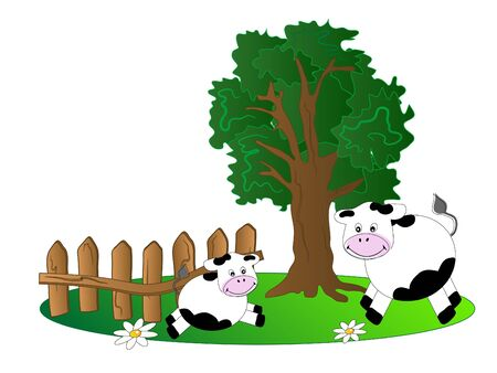 Two cows on the meadow Stock Vector - 9104104