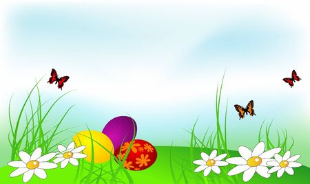 Easter background with eggs and flowers Vector