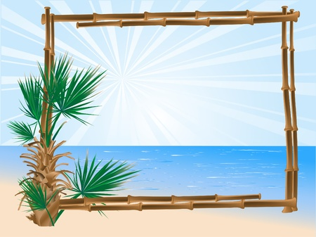 sea plant: Summer background with the bamboo frame Illustration