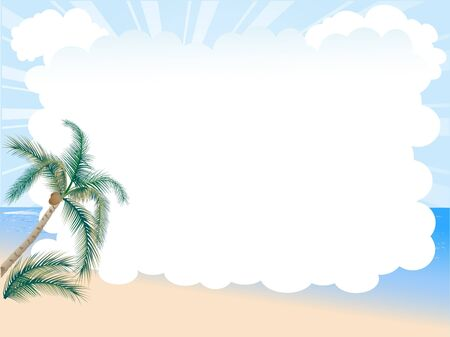 white sand beach: Summer cloudy background with the palm tree