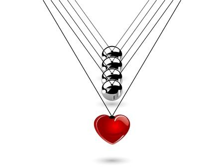 silver balls: Hanging silver balls - vector illustration