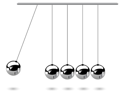 balance ball: Hanging silver balls - vector illustration