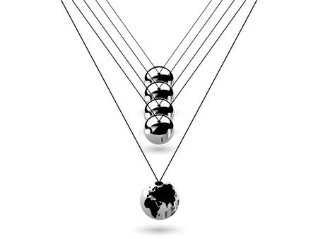fantasize: Colgando bolas de plata con la tierra Vectores