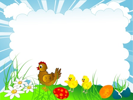 Easter background with hen and chicken Vector