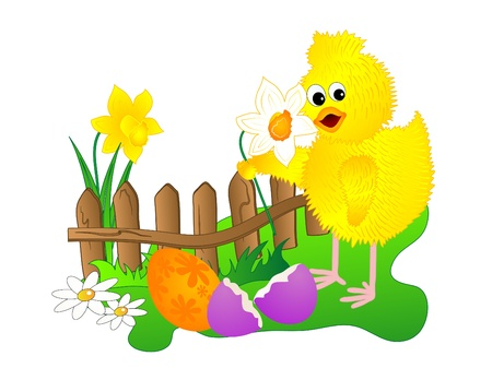 eastertide: Coloured Easter eggs and the yellow chick