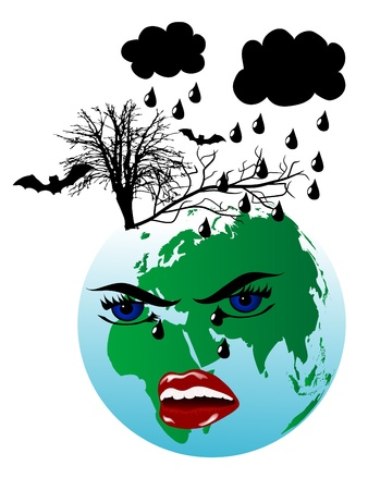 Sadness earth with black clouds Vector