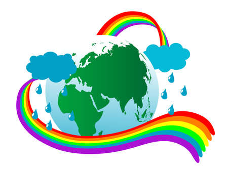 Abstract earth icon with rainbow Stock Vector - 9332027