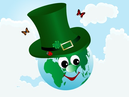 clover face: Abstract earth icon in green hat Illustration