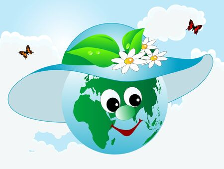 green environment: Abstract earth icon in blue hat