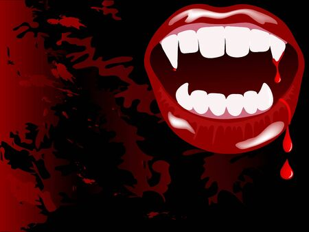 Vampire mouth with drops of blood Vector