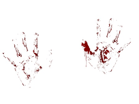 slaughter: Red bloody handprints on white backgroundf Illustration