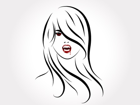 Face of the sexy vampire lady Stock Vector - 9400565