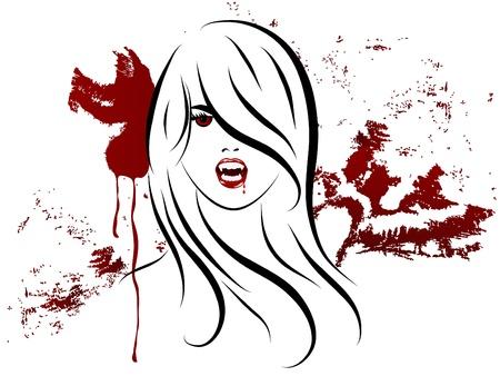 vampira sexy: Cara de la dama de vampiro sexy Vectores