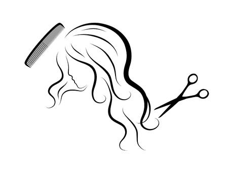 peigne et ciseaux: Silhouette de t�te sexy lady Illustration