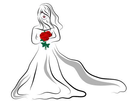 Vampire bride on white background Vector