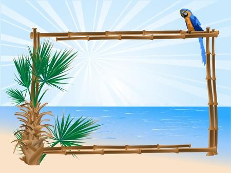 loros verdes: Marco de bamb�, palmera y el loro