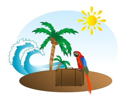 Summer background with palm tree and red parrot Stock Vector - 9529254